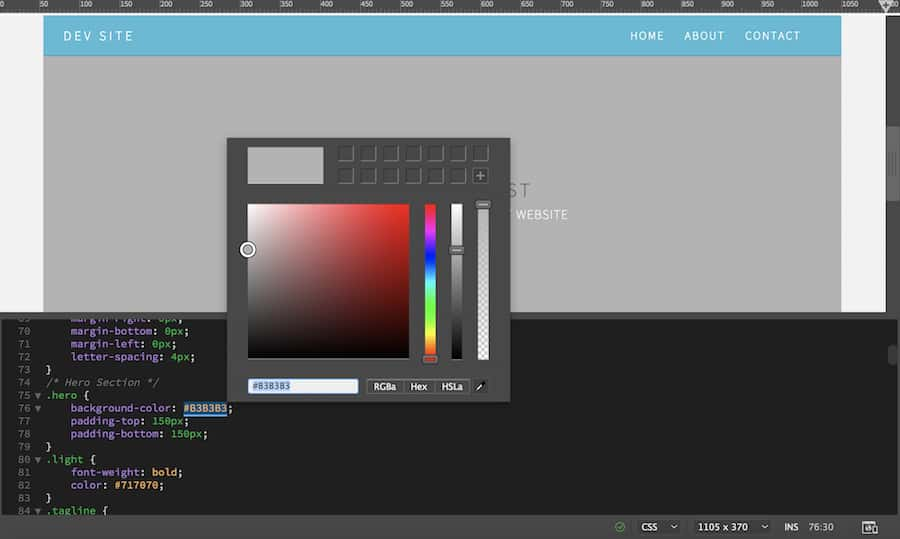 Dreamweaver built-in color picker
