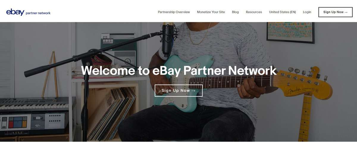 Ebay partner network affiliate program's landing page