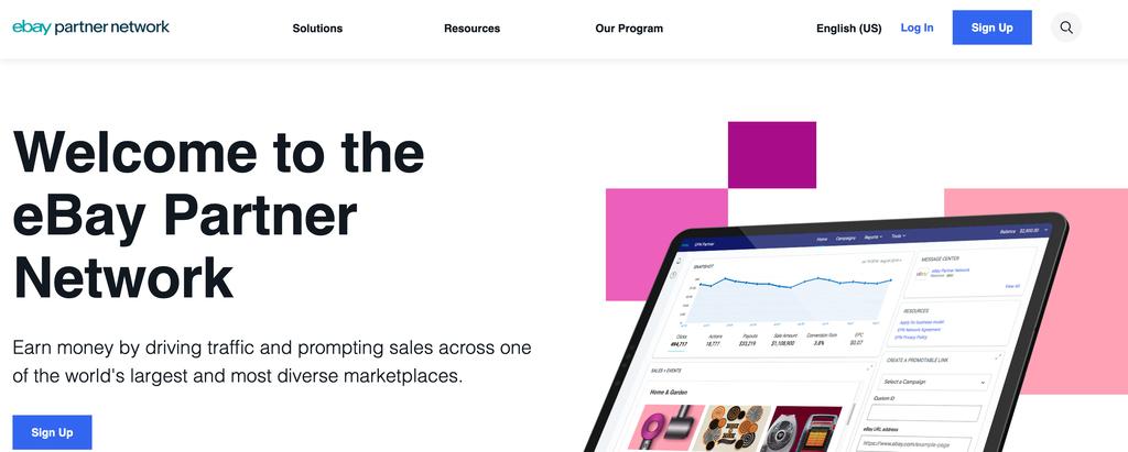ebay partner network homepage