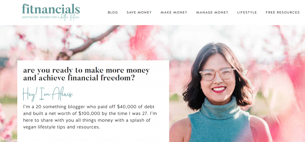 Fitnancials homepage featuring Alexis, a 20 something blogger