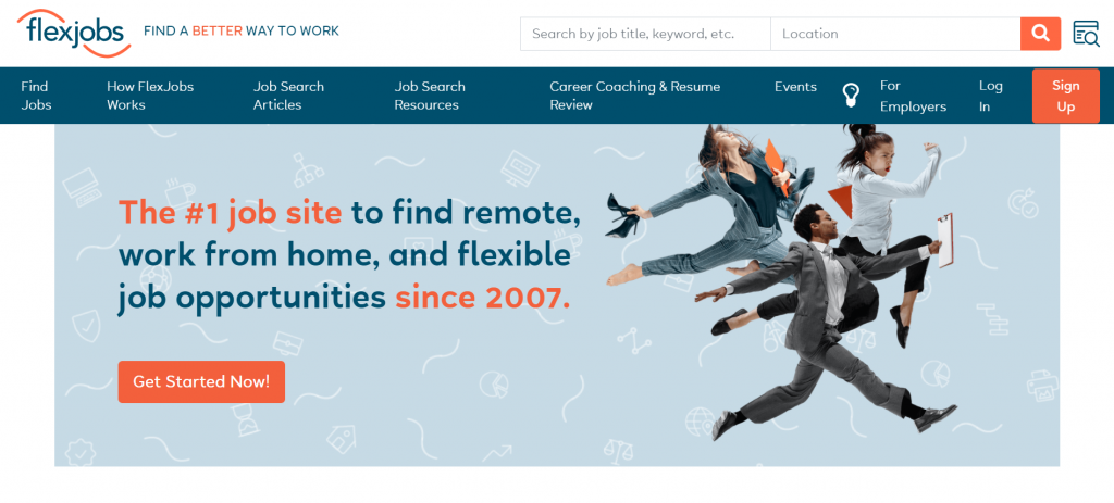 Flexjobs landing page, Find a better way to work