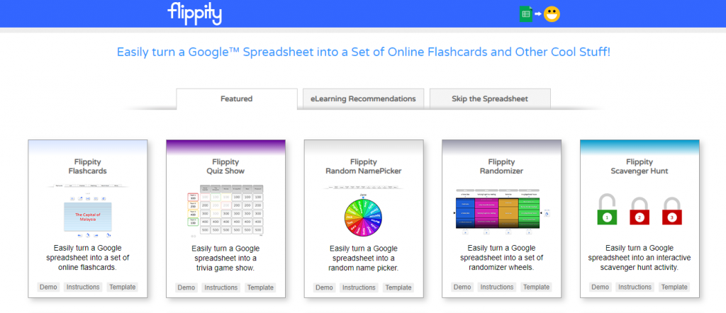 Flashcards, Quiz Shows, Randomizers and more examples of Google Sheets with Flippity