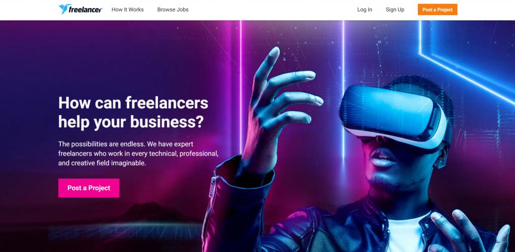 freelancer.com home page