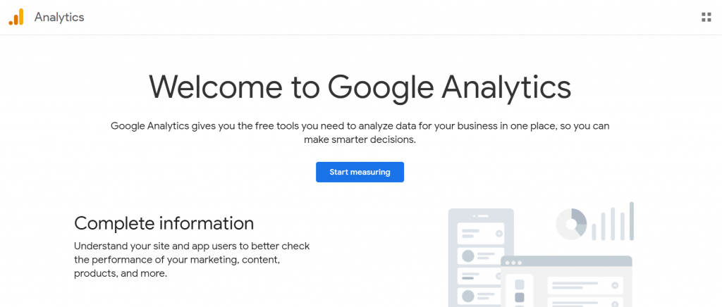 welcome to google analytics page