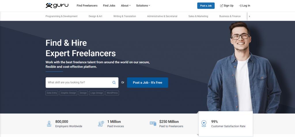 Guru freelancer home page