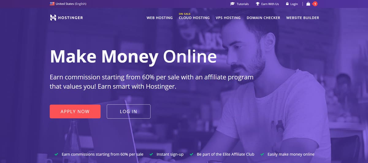 Hostinger's affiliate program banner.