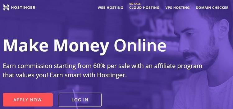 Hostinger affiliate landing page