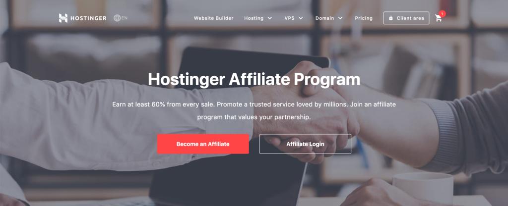 Hostinger Affiliates program's landing page