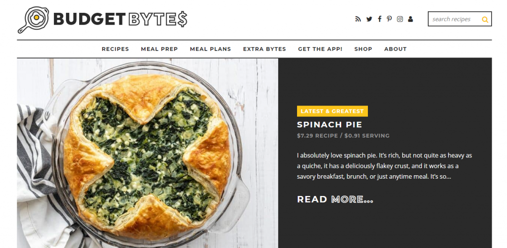 Budget Bytes blog featuring a Spinach pie recipe