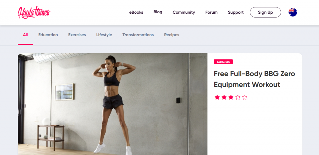 A featured workout on Kayla Itsines websites