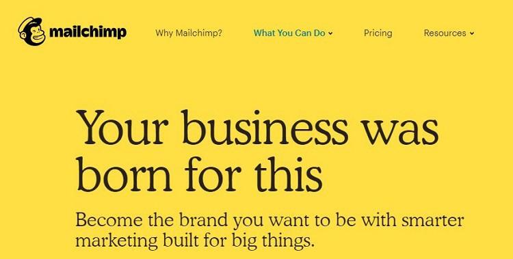 Mailchimp slogan landing page