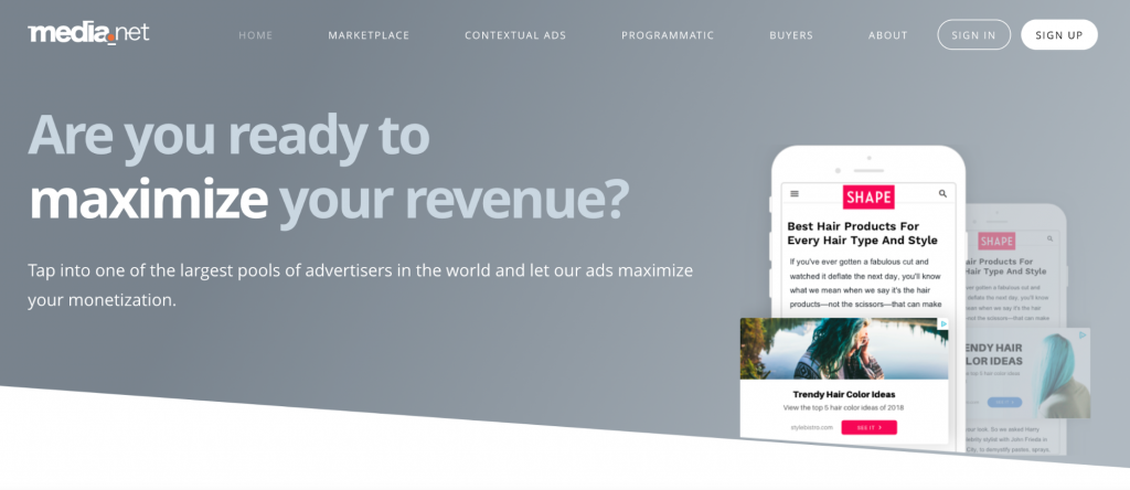 """Media.net homepage asking """"are you ready to maximize your revenue?"""""""