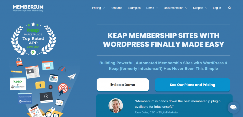 Memberium landing page featuring that membership sites with wordpress is finally made easy