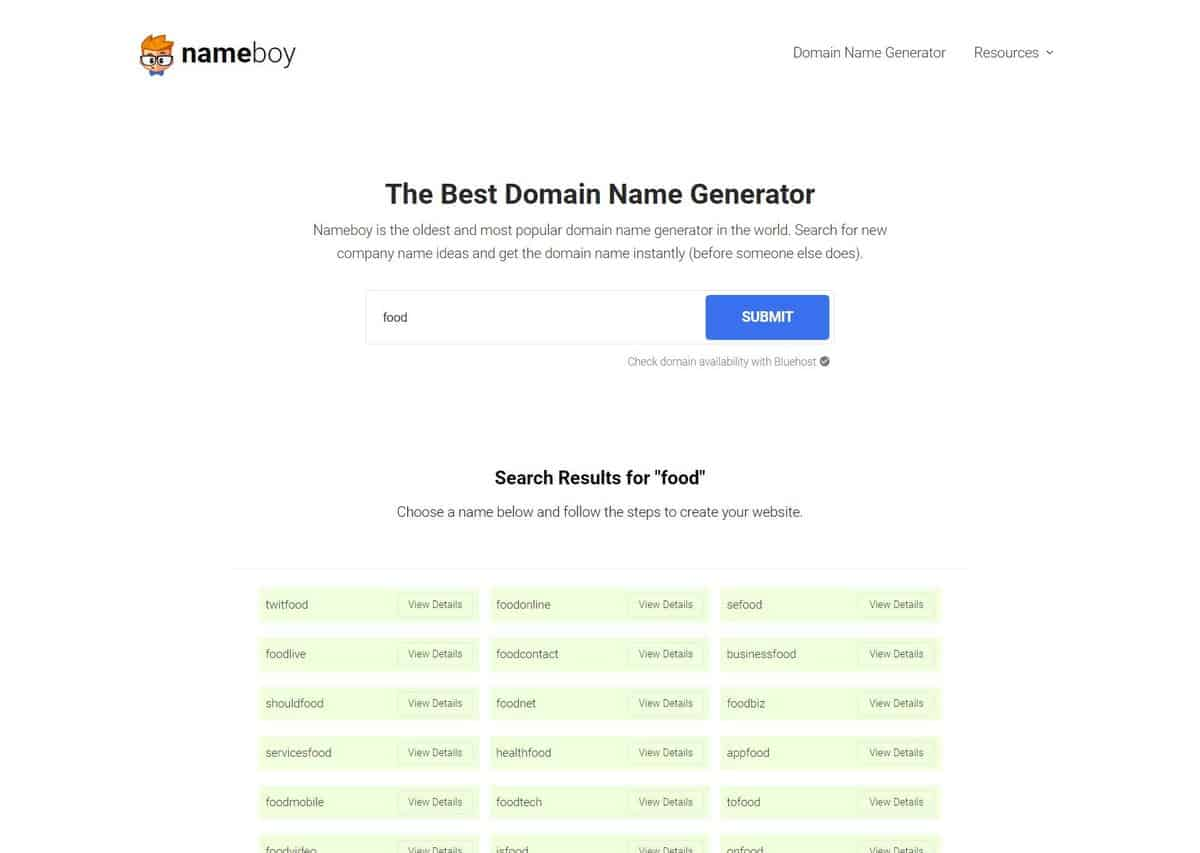 Name Boy as one of the best domain name generators.