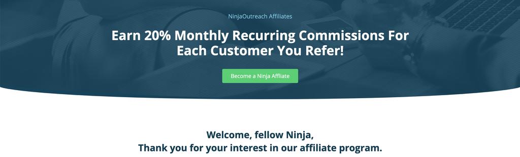 ninja outreach affiliate page