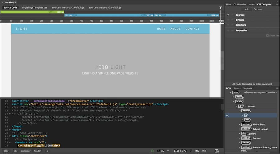 One page site in Dreamweaver's workspace