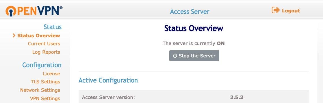 OpenVPN main admin dashboard