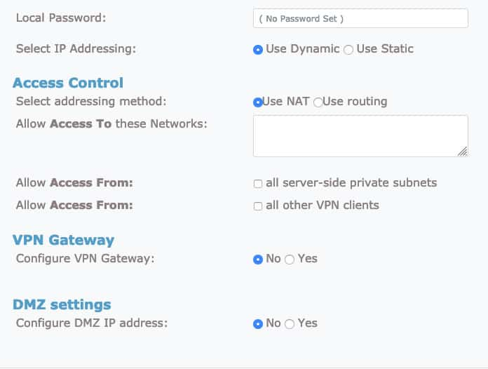 OpenVPN advanced user settings tab