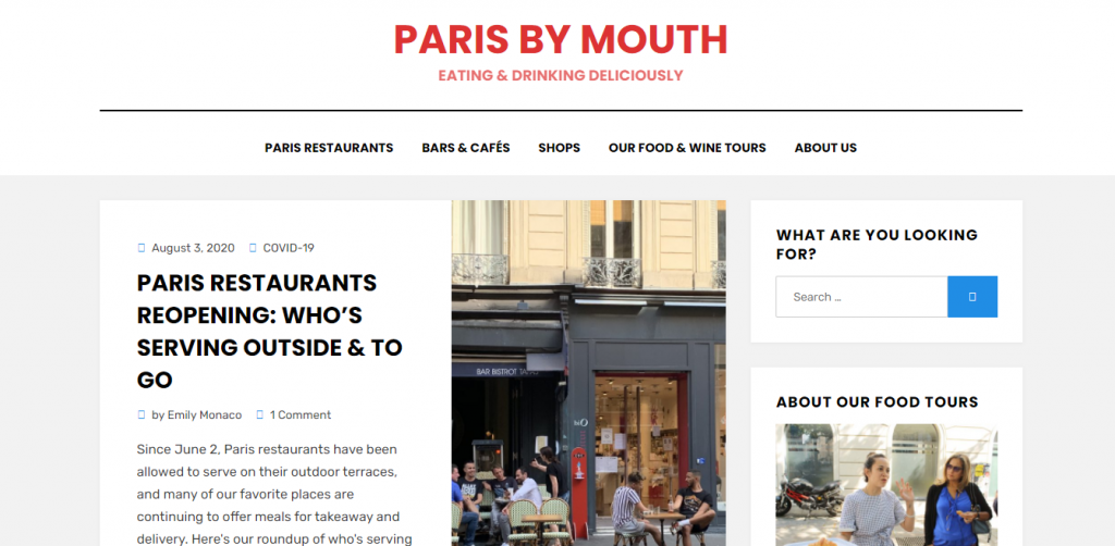 Paris by Mouth home page featuring a story about restaurants opening in Paris with Covid-19 regulations