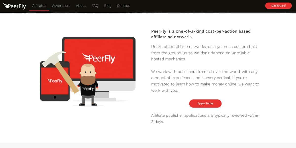 PeerFly affiliate program's landing page