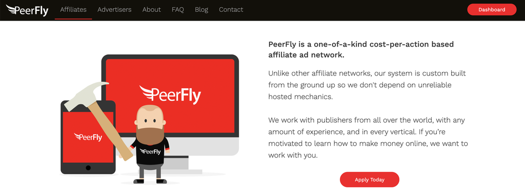 peerfly affiliate page
