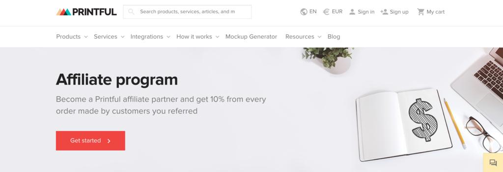 printful affiliates page
