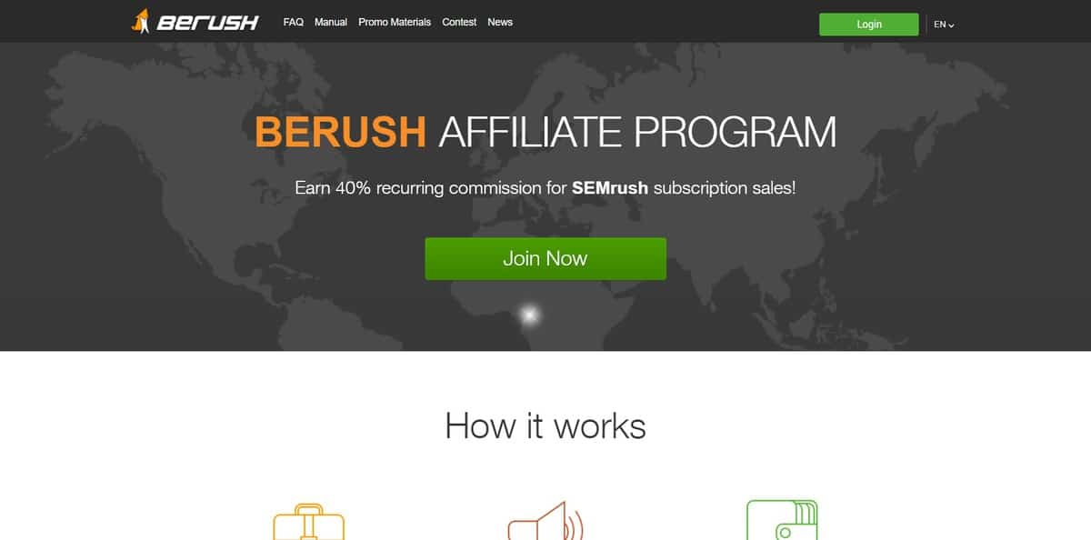 An example of SemRush Affiliates homepage