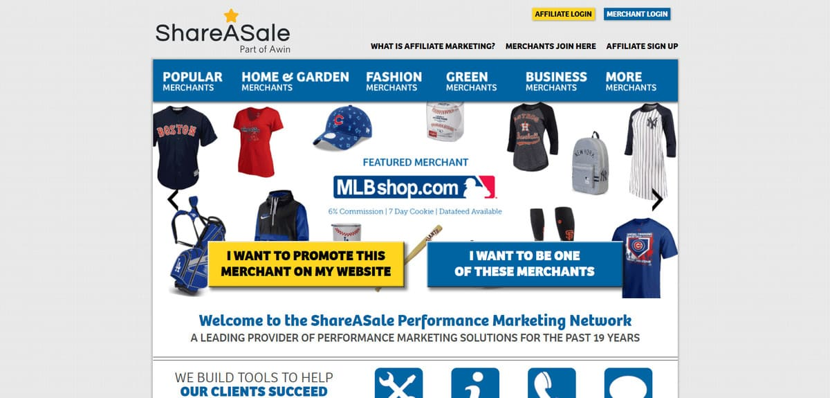 ShareASale affiliate partnership program's landing page