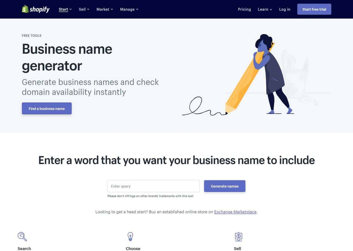 Shopify Business Name Generator as one of the best domain name generators.