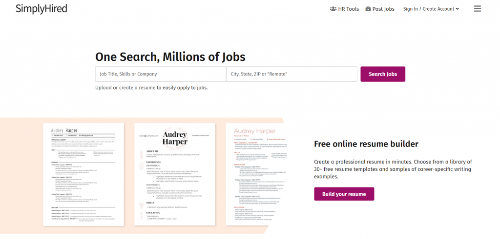 simply hired home page