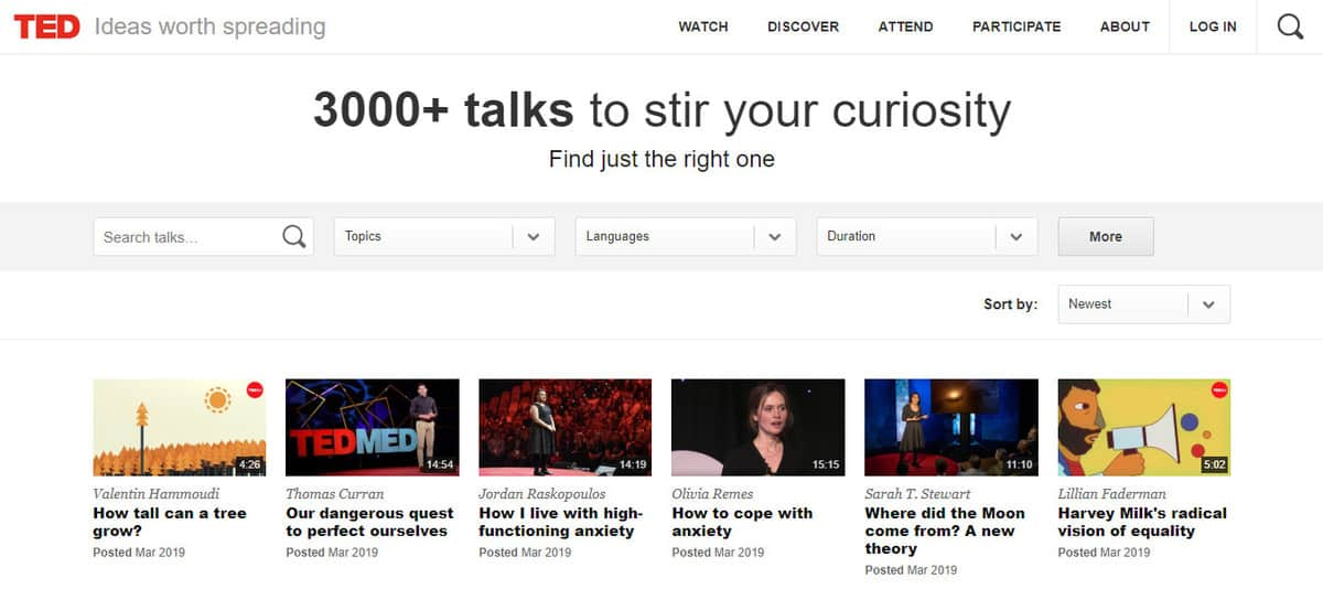 TED Talks Homepage