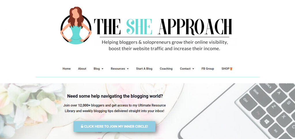 The She Approach landing page