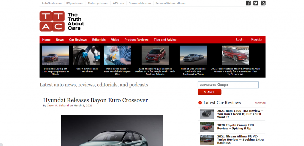 The Truth About cars home page featuring a new car from Hyundai