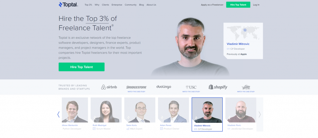 toptal freelancer homepage