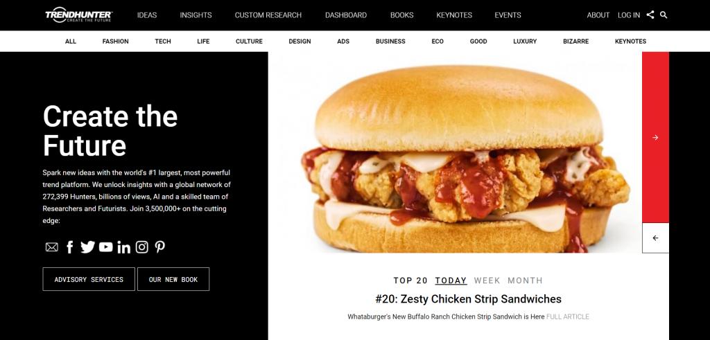 Trendhunter landing page featuring a Zesty Chicken Strip Standwich