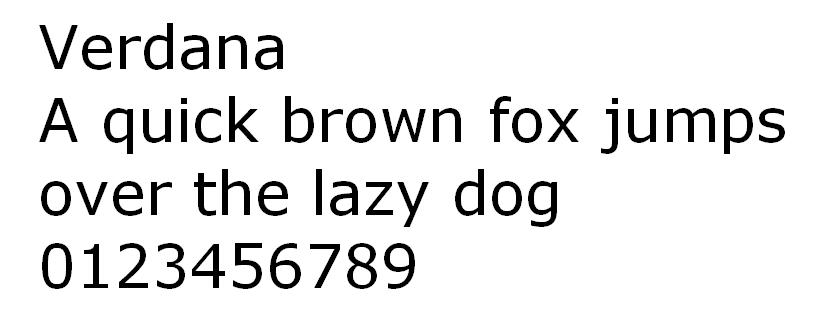 Verdana HTML font