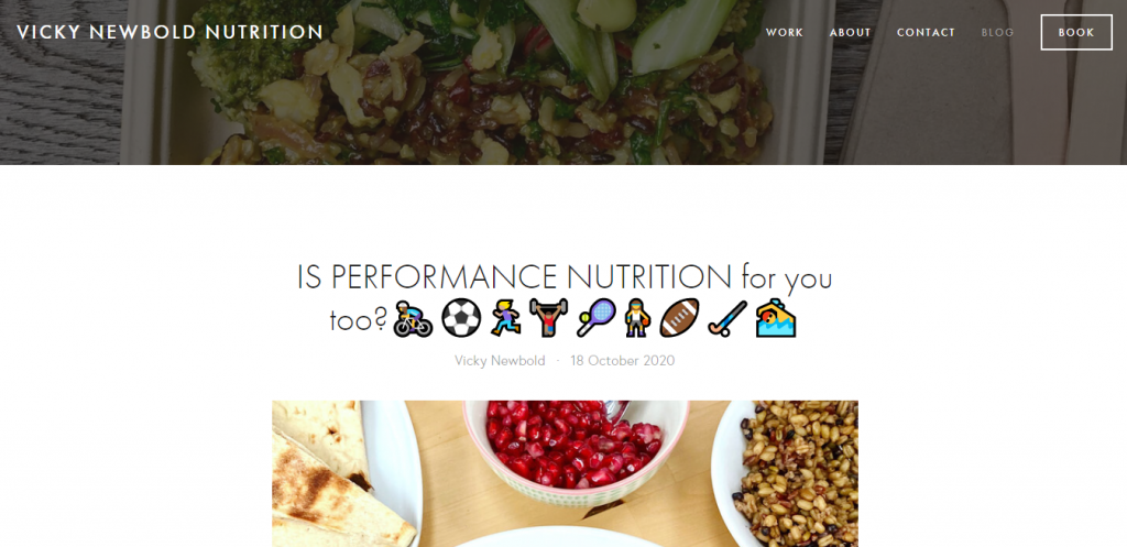 Vicky Newbold blog featuring an article about performance nutrition