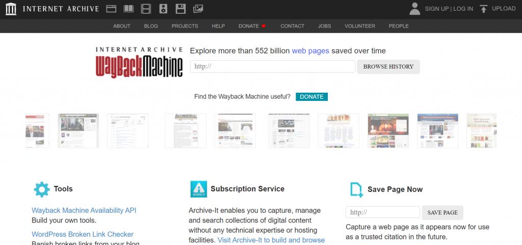 The wayback machine internet archive homepage