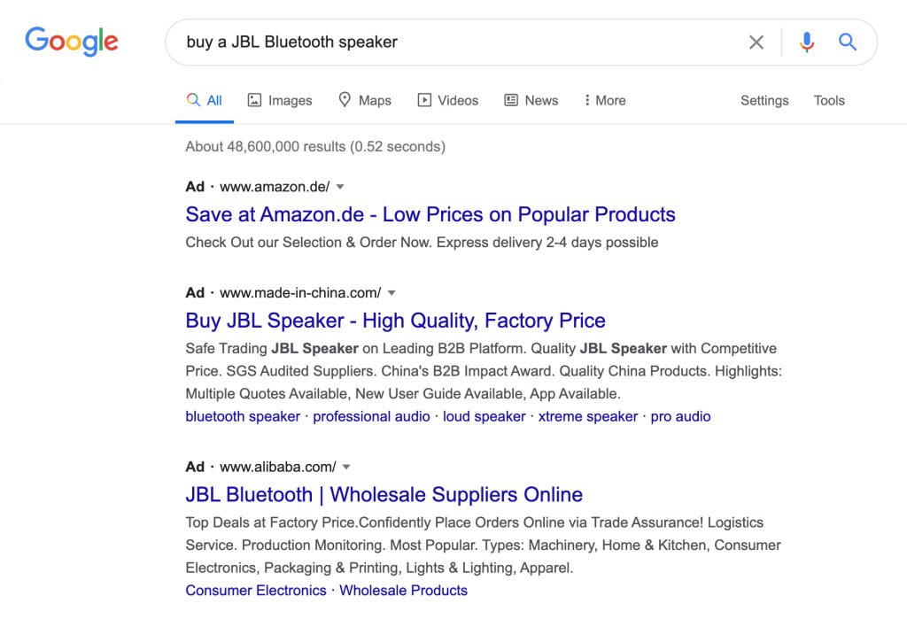 "Screenshot showing ecommerce stores as SERP results for ""buy a JBL speaker query"""