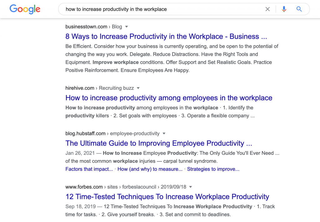 "Screenshot showing search results for ""how to increase productivity in the workplace"""