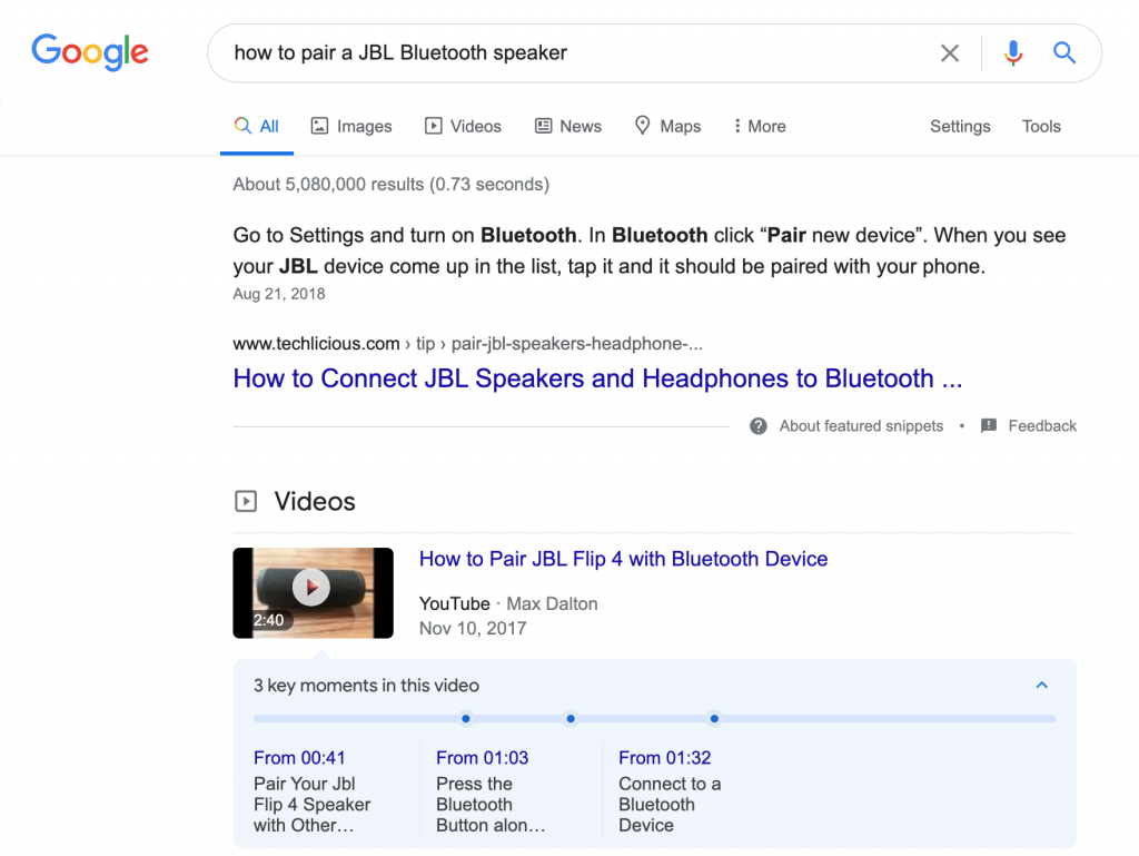 "Screenshot showing informative results of ""how to pair a JBL speaker"" search query"