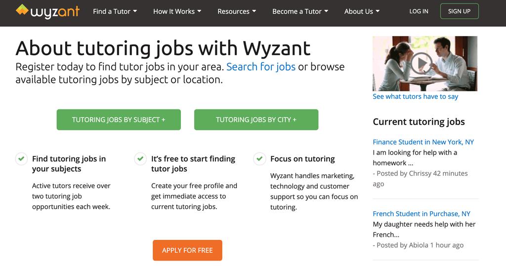 wyzant homepage