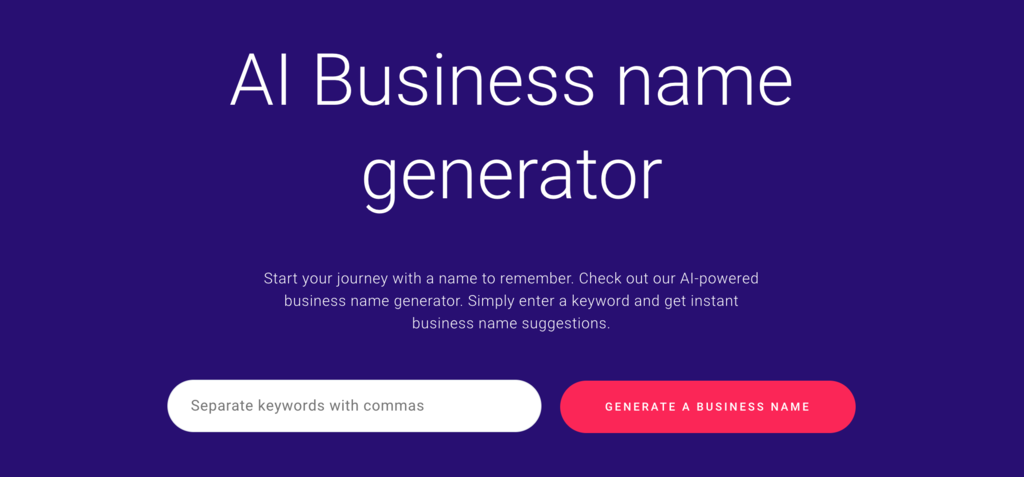 Zyro Business Name Generator's Homepage