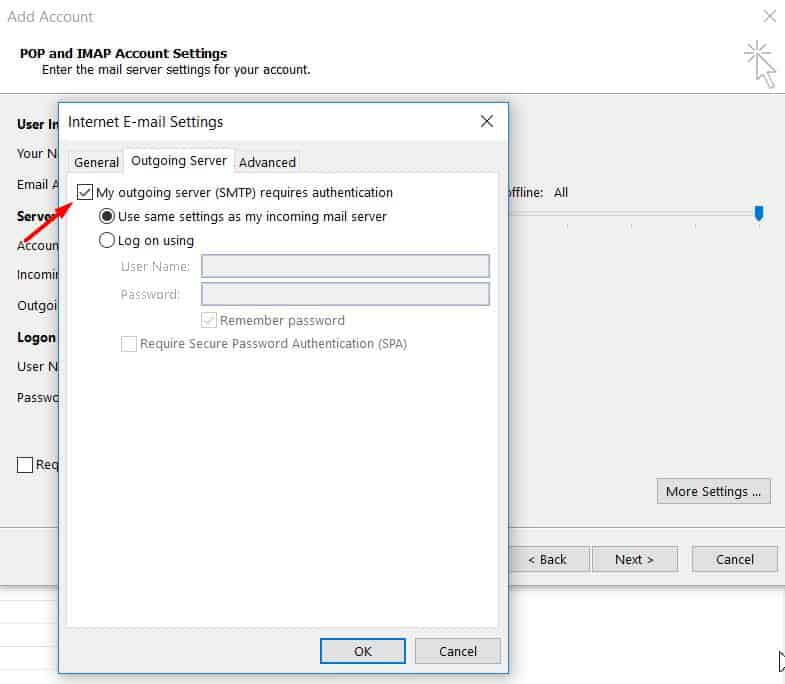 Setting up the outgoing server authentication on Microsoft Outlook 2013.