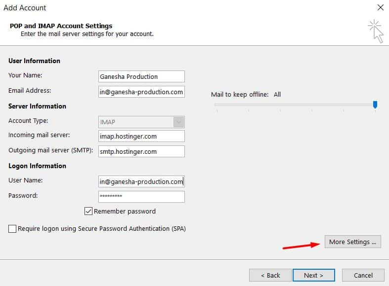Filling in IMAP details on Microsoft Outlook 2013.