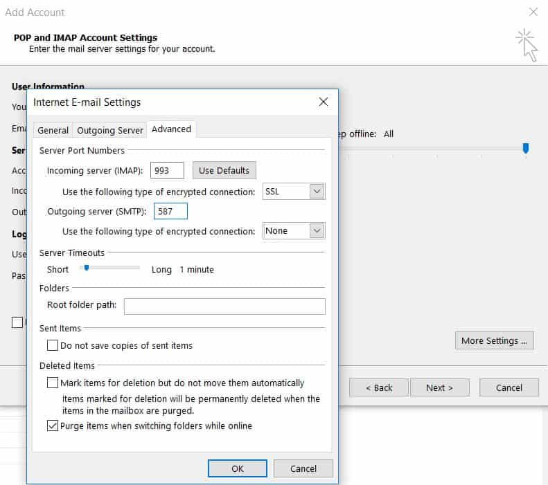 Configuring servers and port numbers on Microsoft Outlook 2013.