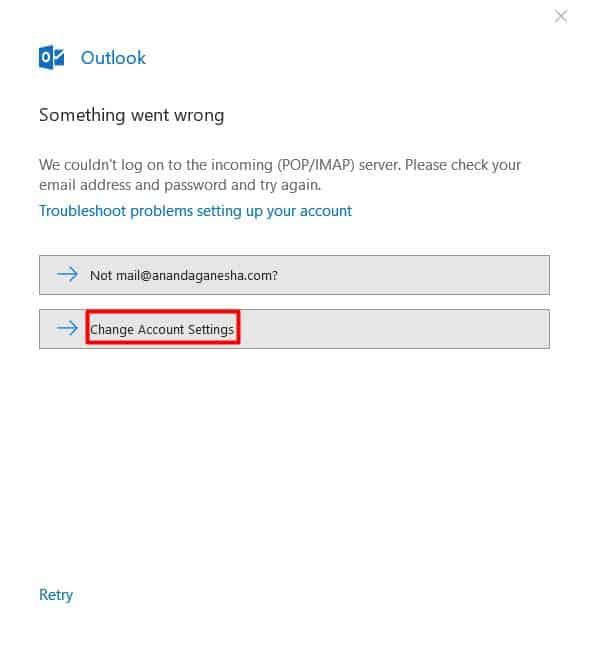 An error message that appears on Microsoft Outlook 2016