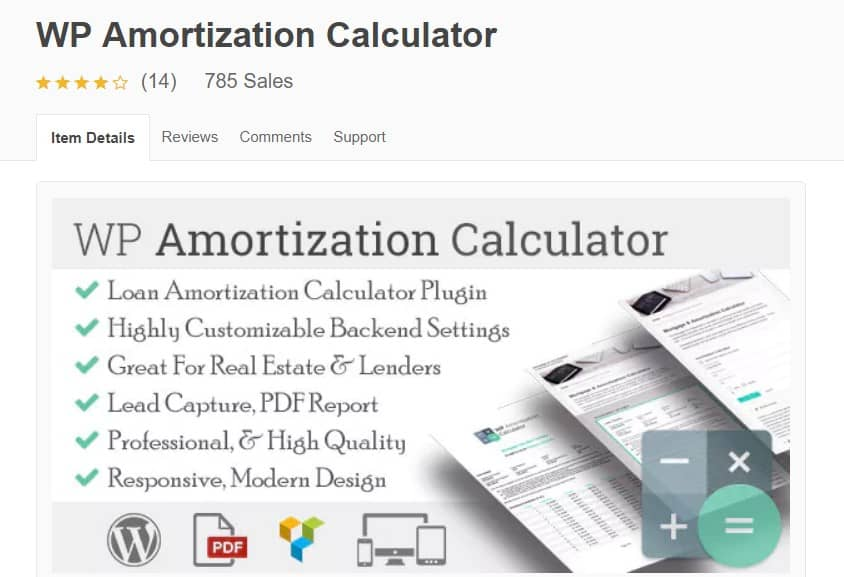 wp amortization calculator WordPress page