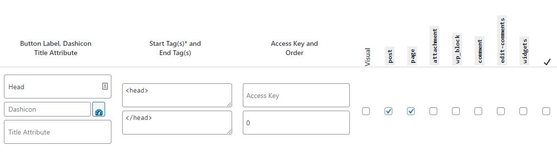 Screenshot of the AddQuickTag plugin interface