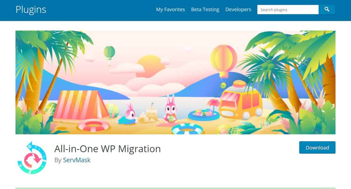 All-in-One WP Migration plugin's download page